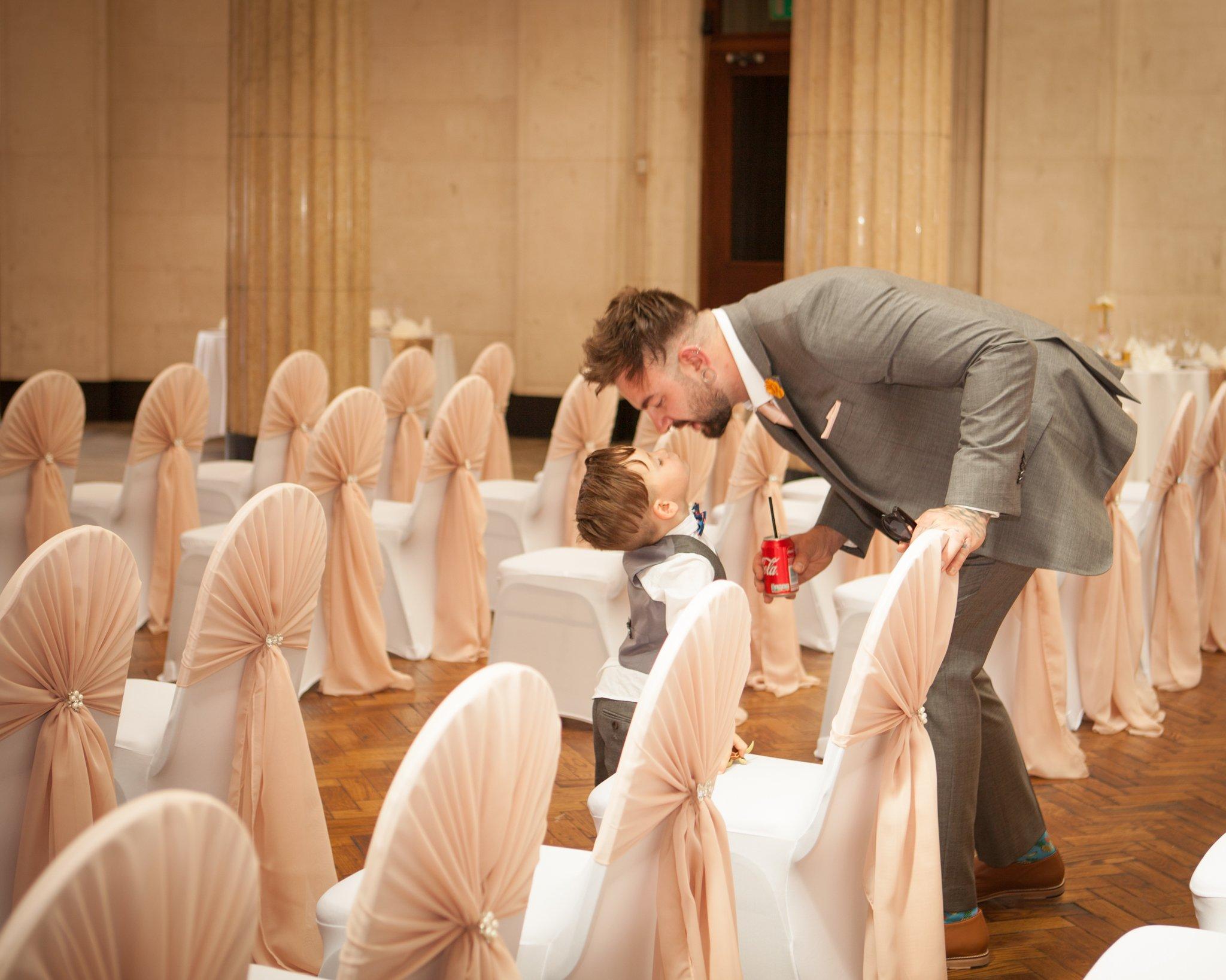 Cardiff Wedding, Portland House, Groom & son, Tania Miller Photography