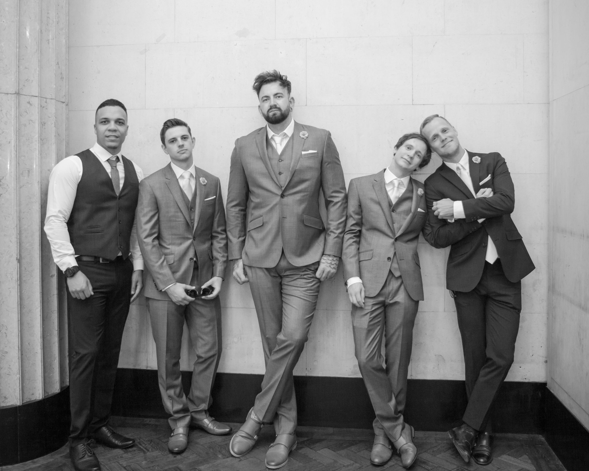Portland House Cardiff wedding, Groom & Ushers, Tania Miller Photography, wedding photographer Cardiff