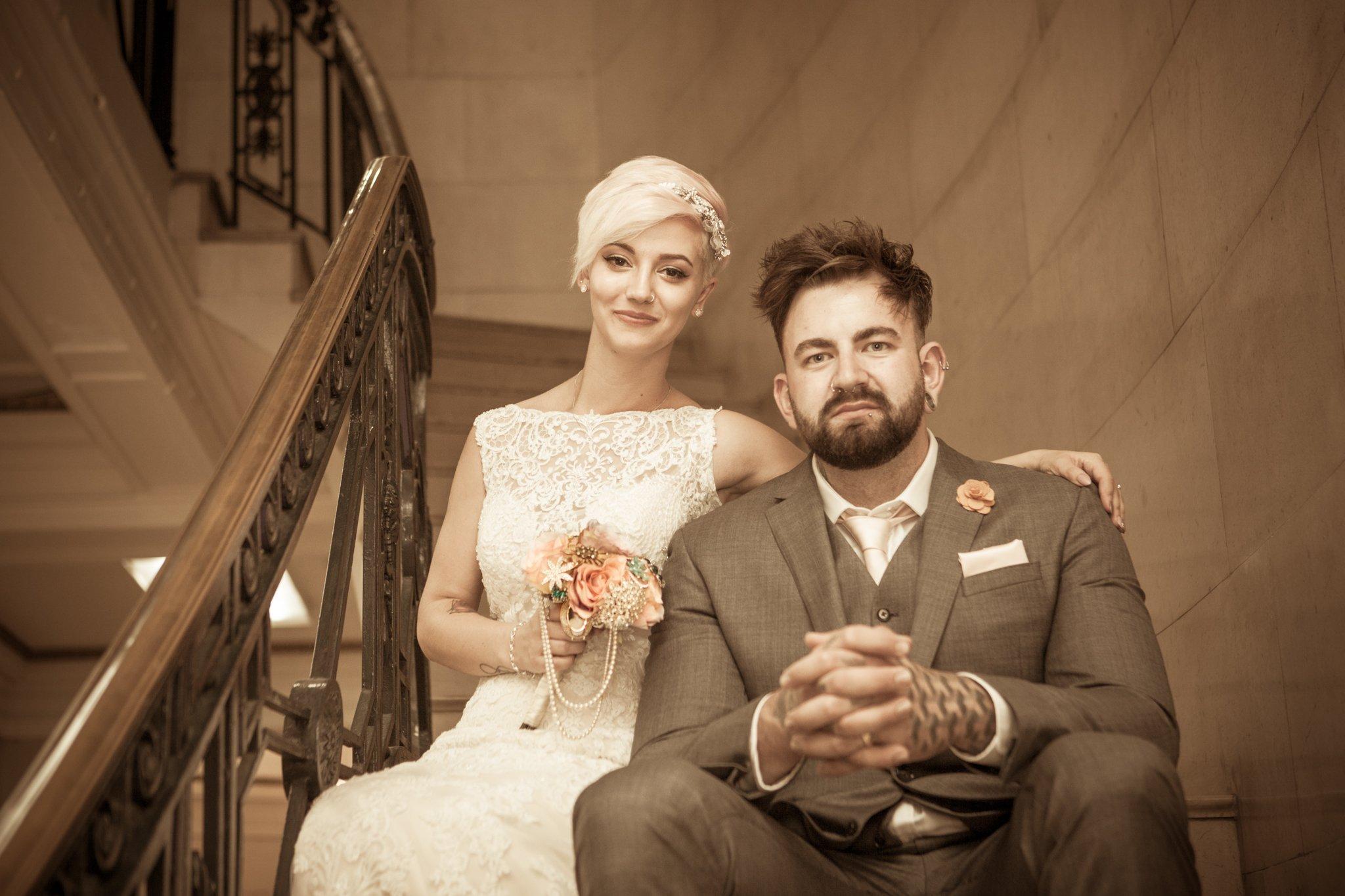 Bride & groom, Portland House Cardiff Wedding, Tania Miller Photography, Cardiff wedding photographer