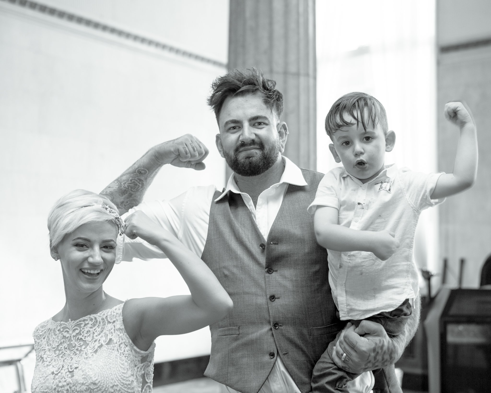 Bride with groom & son, Portland House Cardiff Wedding, Tania Miller Photography, Cardiff wedding photographer