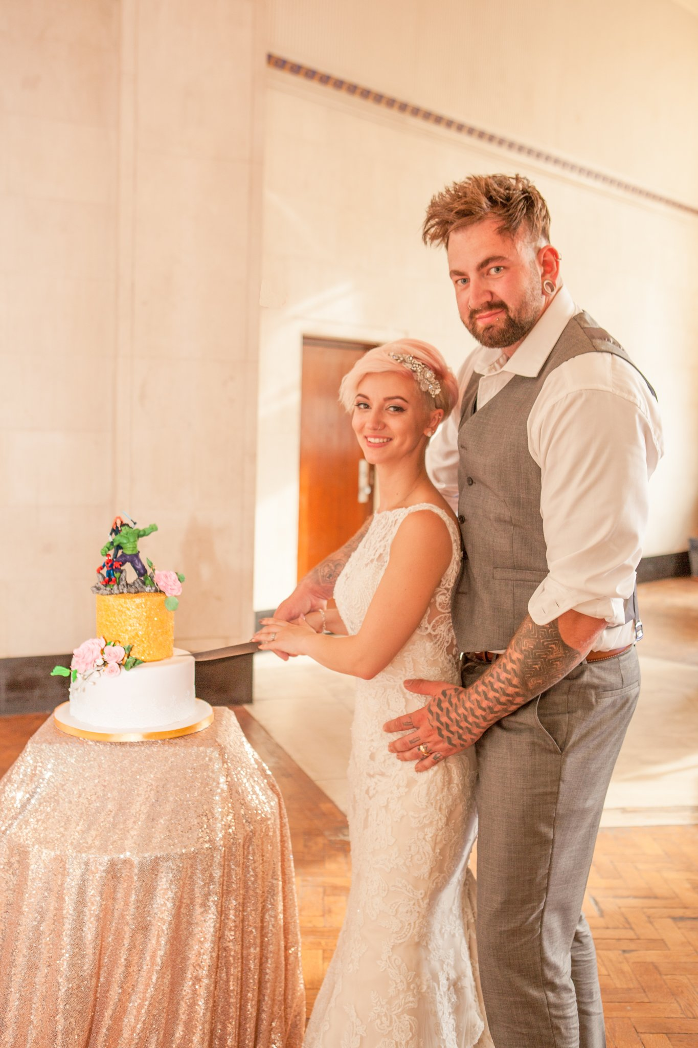 Cutting the cake,Portland House Cardiff Wedding, Tania Miller Photography, Cardiff wedding photographer