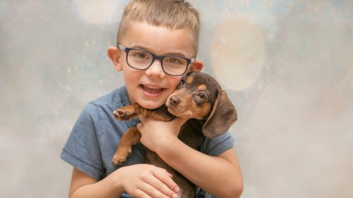Photoshoot with Coco the Daschund, Em, Logan & Shelby – December