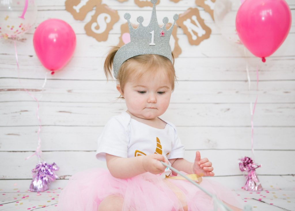 Cake Smash with Havana, one year old, crown & wand, Tania Miller Photography, Pontypool Child Photographer
