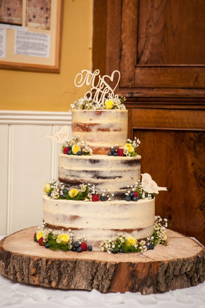 Wedding of Andy & Rose, The Sppech House Coleford, Naked Wedding Cake, Tania Miller Photography
