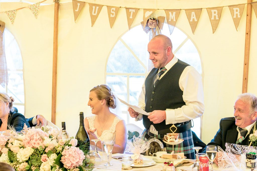 Wedding of Jake & Briony, Grooms Speech, Tania Miller Photography,