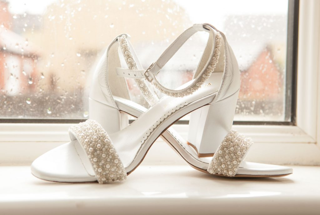 Wedding of Jake & Briony, Brides Shoes, Tania Miller Photography,