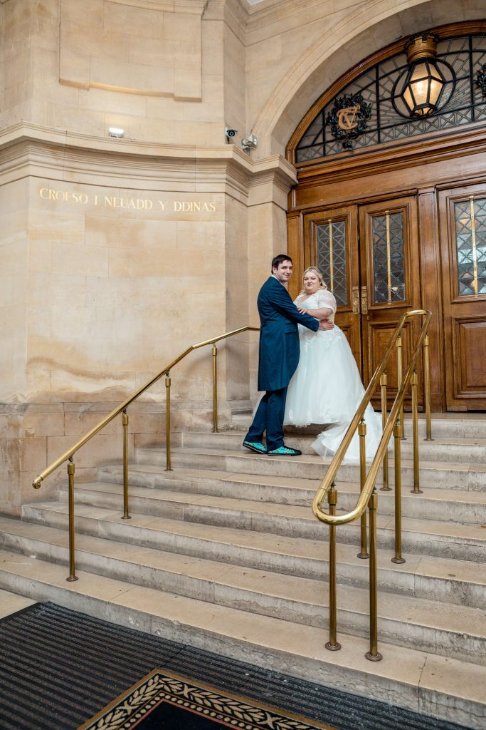Steps of City Hall Cardiff, Tania Miller Photography, Cardiff Wedding Photographer