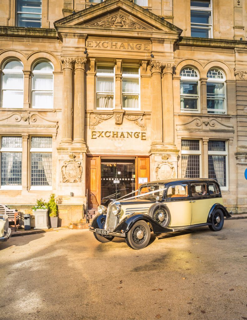 The Exchange Hotel Cardiff, Henrietta Vintage Car Hire, Tania Miller Photography, Cardiff Wedding Photographer